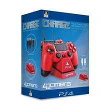 4Gamers Dual Controller Charging Stand - červený (PS4)