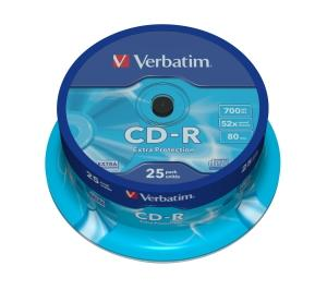 Média CD-R Verbatim 700MB/ 80min, 52x, Spindl, 25ks